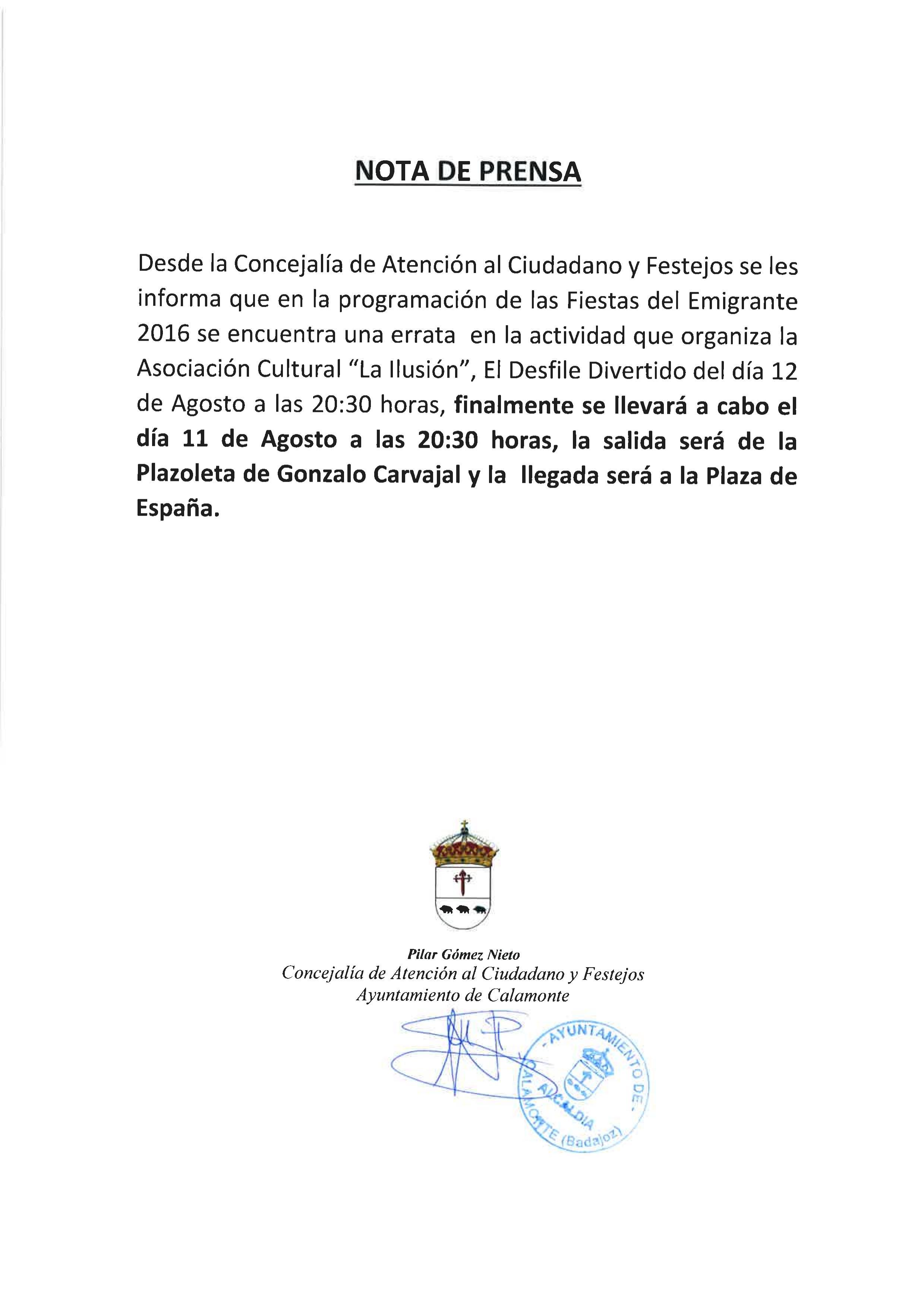 Excmo ayuntamiento de calamonte cambio de d a del for Oficina de atencion al ciudadano linea madrid