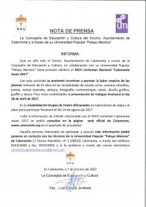 Nota de Prensa, XXVII Certamen  Nacional Calamonte Joven 2017