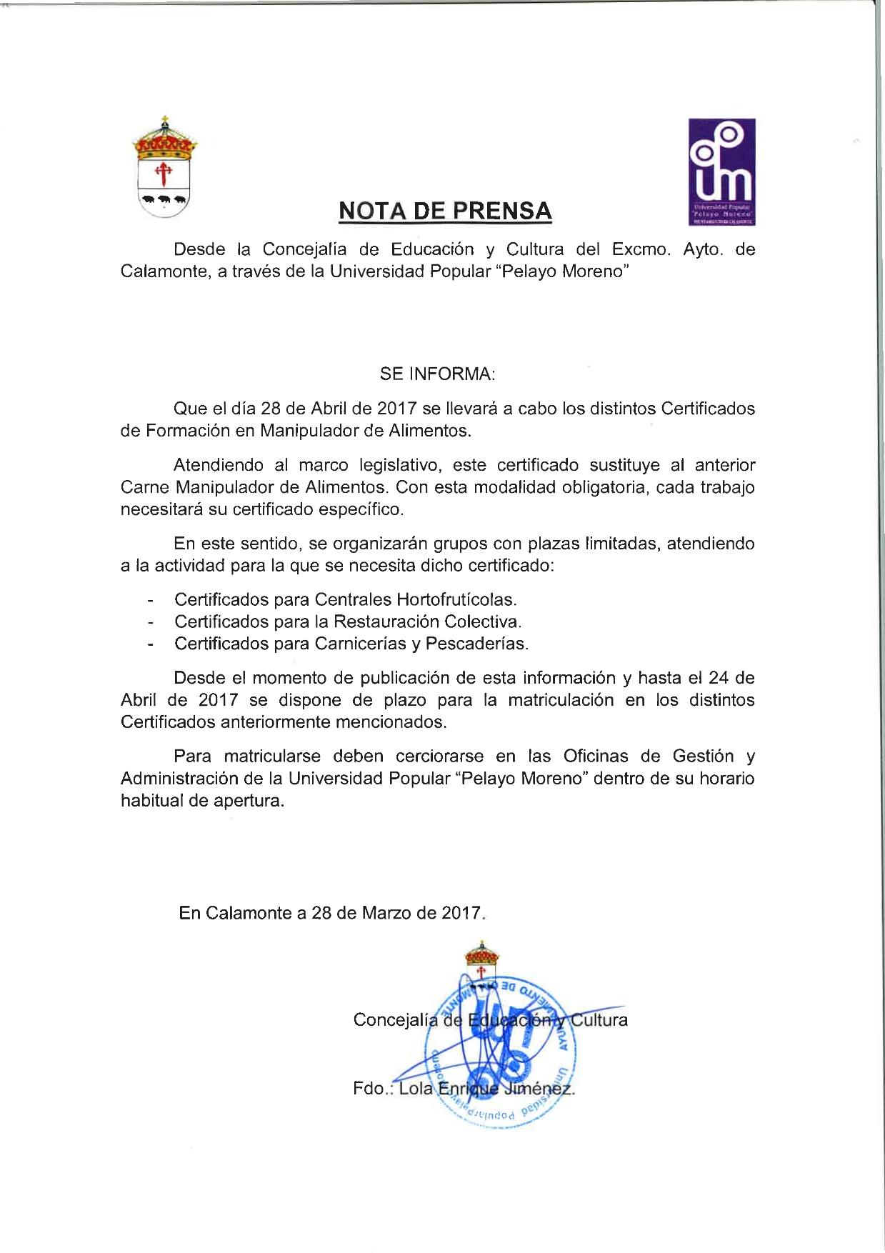 Excmo. Ayuntamiento de Calamonte - Certificados de Formación en ...