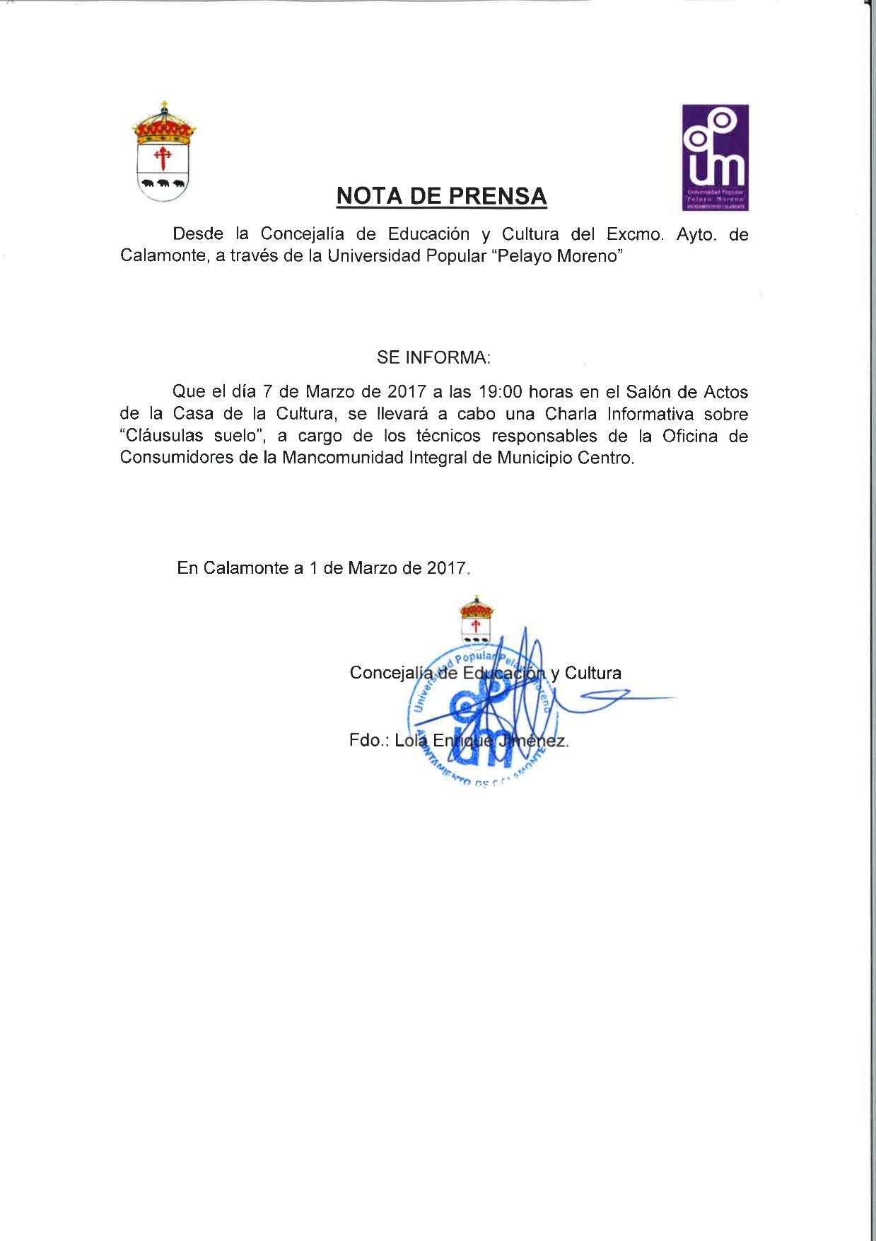Excmo ayuntamiento de calamonte charla informativa for Novedades clausula suelo