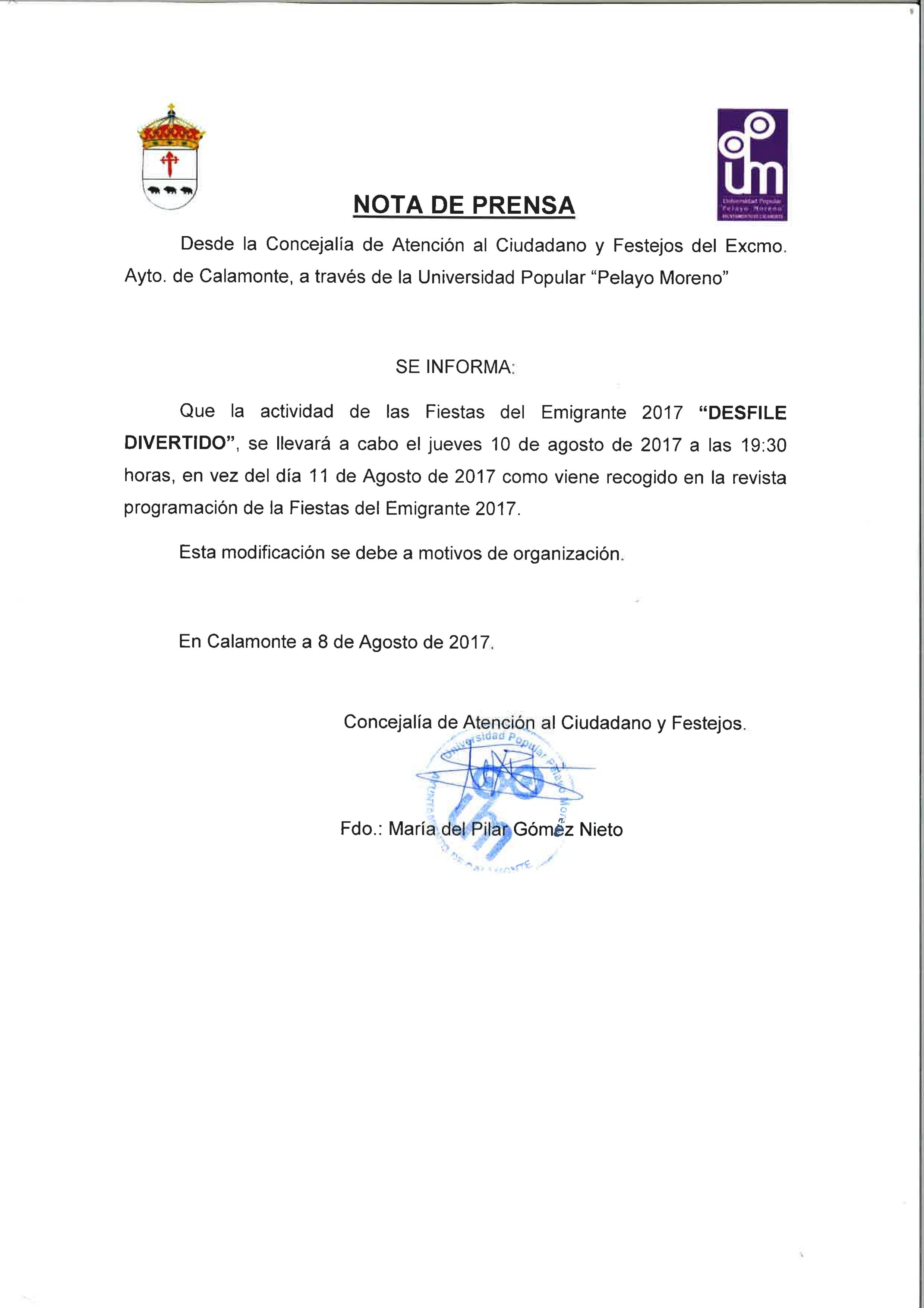 Excmo ayuntamiento de calamonte cambio de d a desfile for Oficina de atencion al ciudadano linea madrid