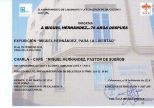 Nota de prensa charla exposición Miguel Hernández 2018