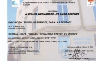Nota de prensa corregida charla exposición Miguel Hernández 2018