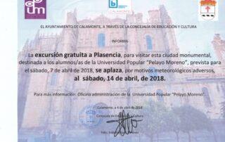 nota prensa aplazar excursion plasencia 2018