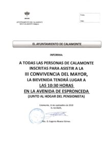 NOTA DE PRENSA CONVIVENCIA - BIENVENIDA CALAMONTE