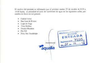 20181022_CORTE SUMINISTRO DE AGUA EL DIA 23 OCTUBRE EN VARIAS CALLES