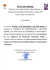 NOTA DE PRENSA. JORNADAS DESARROLLO SOSTENIBLE_001