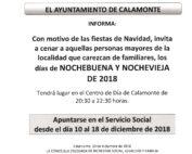 NOTA DE PRENSA NOCHEBUENA Y NOCHEVIEJA 2018