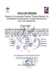 NOTA DE PRENSA concierto de música en Navidad_001