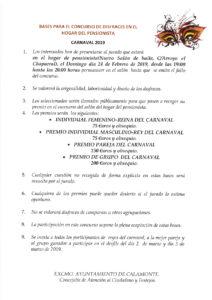 BASES CONCURSO DISFRACES DEL HOGAR DE PENSIONISTA
