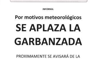 NOTA DE PRENSA - QUEDA APLAZADA LA GARBANZADA