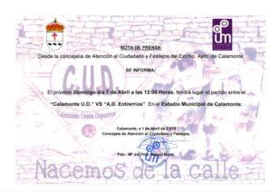 NOTA DE PRENSA. PARTIDO DE FUTBOL CUD_001