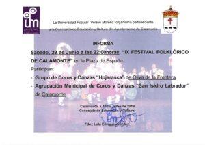 NOTA DE PRENSA. IX FESTIVAL FOLKLÓRICO DE CALAMONTE