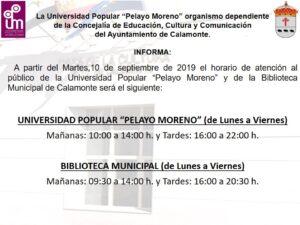 Horarios UPPM y biblioteca 2019-2020