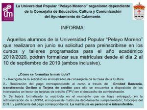 Preinscripciones cursos 2019-2020