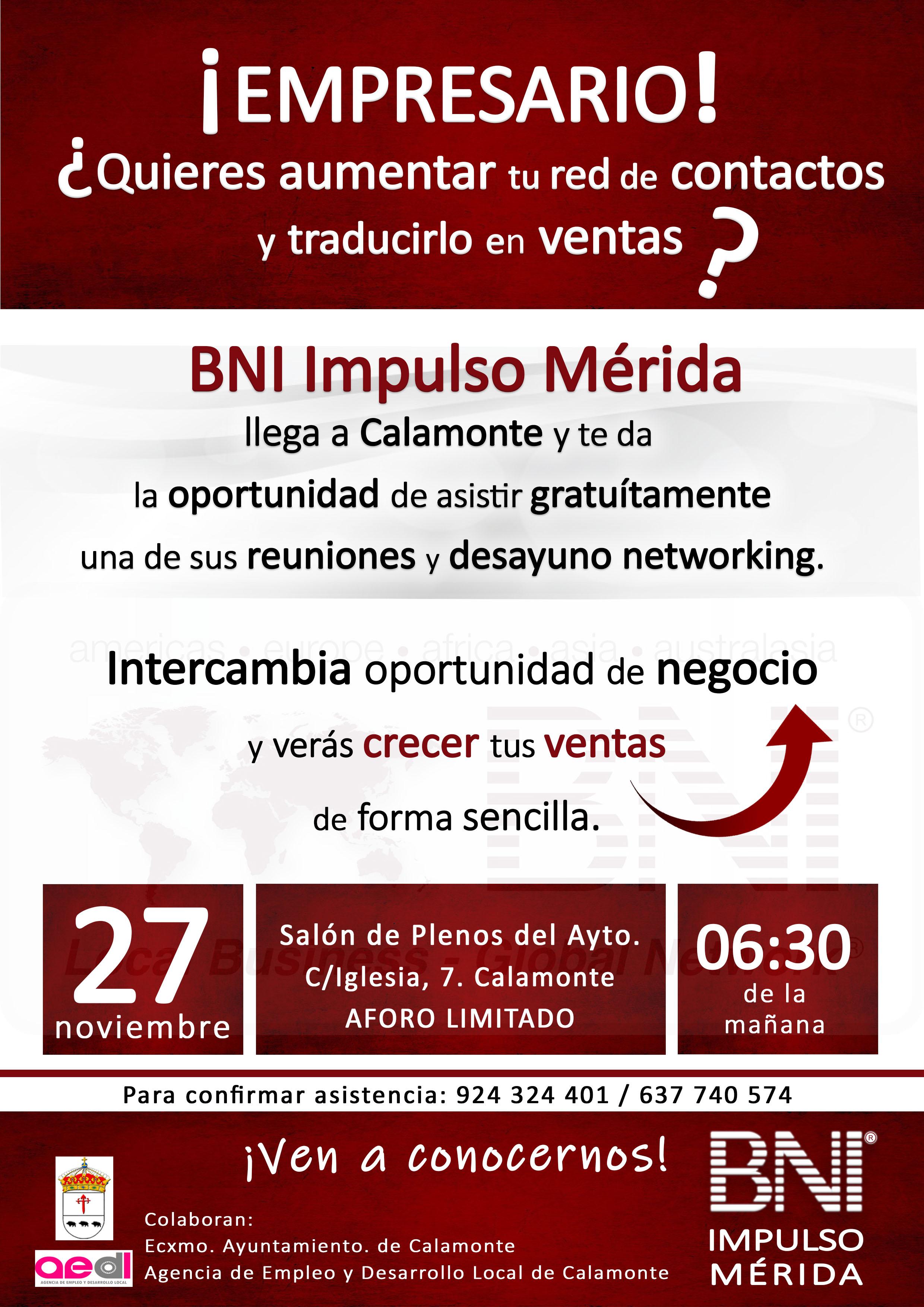 Cartel invitación a BNI Calamonte