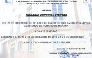 HORARIO ESPECIAL FIESTAS NAVIDAD 2019