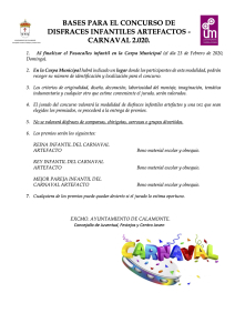 BASES PARA EL CONCURSO DE DISFRACES INFANTILES ARTEFACTOS