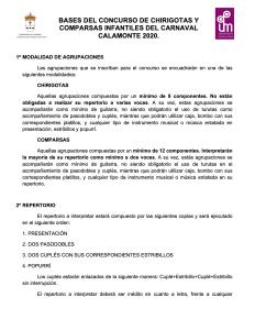 Bases concurso chirigotas y comparsas infantiles del carnaval calamonte 2020 1