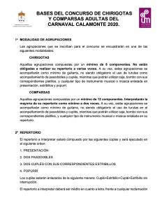 Bases del concurso de chirigotas y comparsas adultas del carnaval calamonte 2020 1