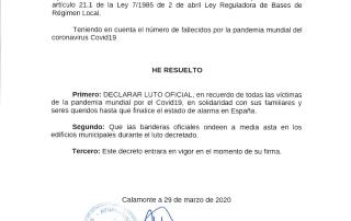 DECLARACION DE LUTO OFICIAL