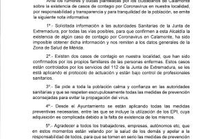 NOTA INFORMATIVA INCIDENCIA COVI-19 EN CALAMONTE.